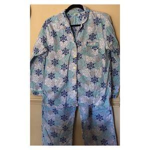 Gap 2 Pc Snowflakes Flannel Set Sz Medium
